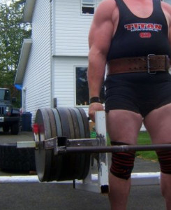Example of using wrist straps to train for a strongman event